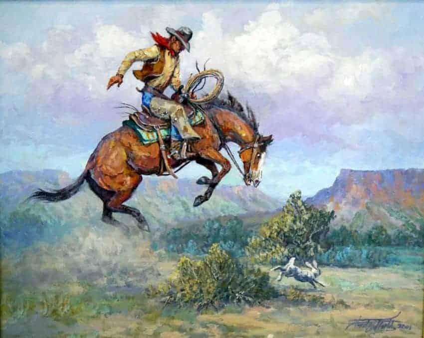 "Fred Oldfield Western Artwork, ""Rabbit on the Run"""